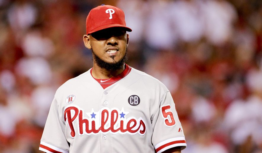 Philadelphia Phillies relief pitcher Antonio Bastardo leaves the game after giving up five runs to the Los Angeles Angels during the sixth inning of a baseball game in Anaheim, Calif., Tuesday, Aug. 12, 2014. (AP Photo/Chris Carlson)