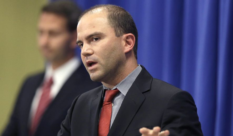 Deputy National Security Adviser for Strategic Communications and Speechwriting, Ben Rhodes, speaks during a news briefing in Edgartown, Mass., on the island of Martha's Vineyard, Wednesday, Aug. 13, 2014. Rhodes discussed the refugee and conflict conditions in Northern Iraq. (AP Photo/Steven Senne)