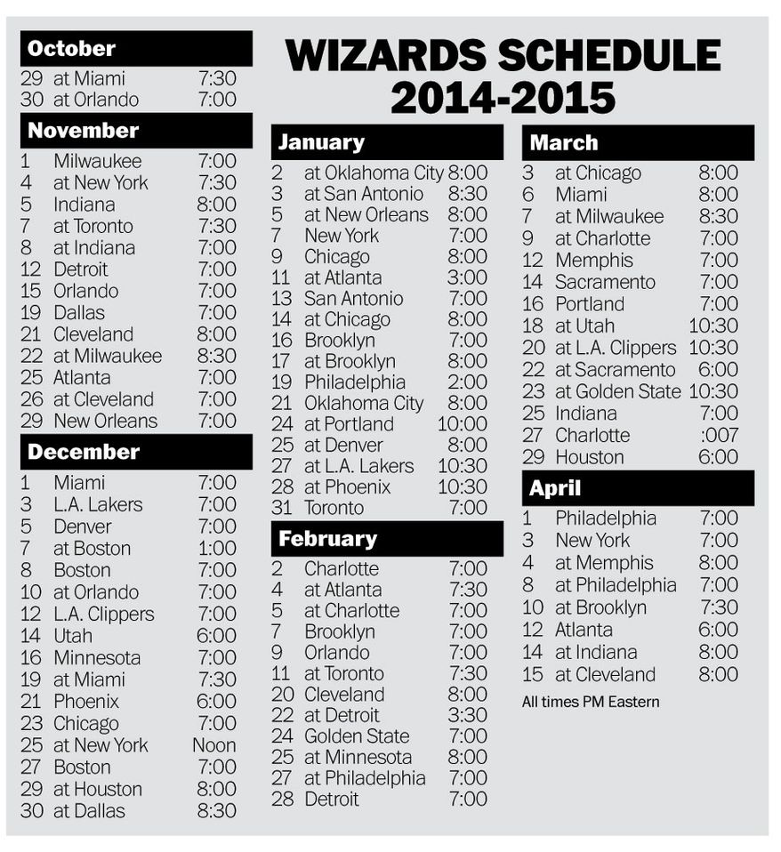 Washington Wizards' 2014-15 schedule (The Washington Times)