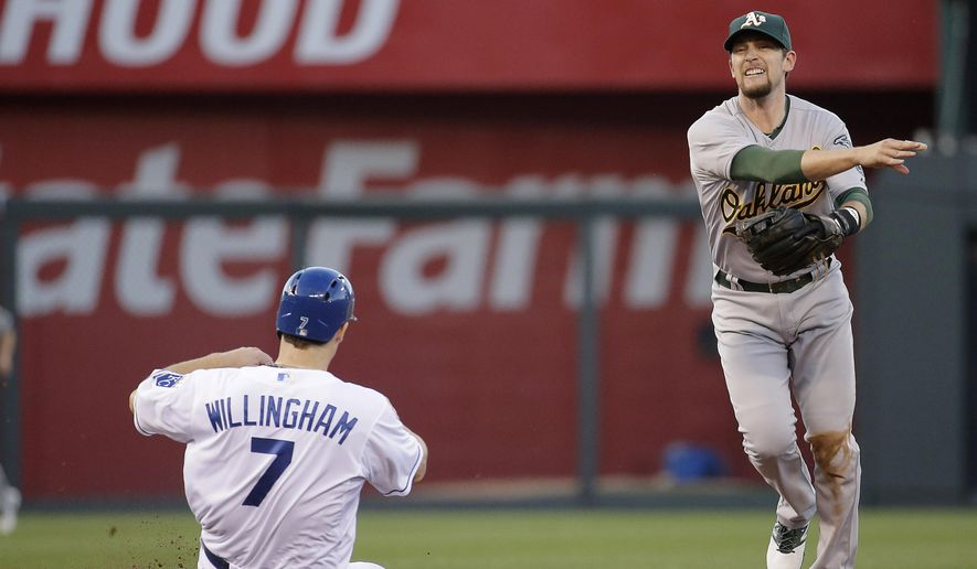 Oakland Athletics shortstop Jed Lowrie throws to first for the double play hit into by Kansas City Royals' Alcides Escobar after forcing Josh Willingham (7) out at second during the second inning of a baseball game Wednesday, Aug. 13, 2014, in Kansas City, Mo. (AP Photo/Charlie Riedel)