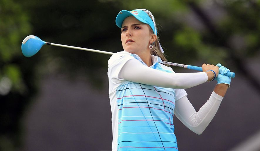 Lexi Thompson tees-off on the 10th hole during the LPGA Championship at the Monroe Golf Club, Thursday, Aug. 14, 2014 in Pittsford, N.Y. (AP Photo/The Buffalo News, Harry Scull Jr)  TV OUT; MAGS OUT; MANDATORY CREDIT; BATAVIA DAILY NEWS OUT; DUNKIRK OBSERVER OUT; JAMESTOWN POST-JOURNAL OUT; LOCKPORT UNION-SUN JOURNAL OUT; NIAGARA GAZETTE OUT; OLEAN TIMES-HERALD OUT; SALAMANCA PRESS OUT; TONAWANDA NEWS OUT