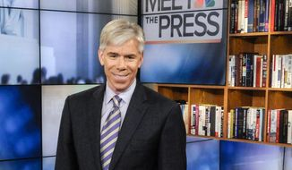 "This Feb. 24, 2013 photo released by NBC News shows moderator David Gregory on the set of ""Meet the Press,"" in Washington. Gregory is tweeting that he is leaving NBC. In tweets posted Thursday, Aug. 14, 2014, Gregory said he is leaving the network as he arrived at it, ""humbled and grateful.""  ""Meet the Press"" has fallen to third place since he took it over in 2008. His departure had been rumored for months. (AP Photo/NBC, William B.  Plowman)"