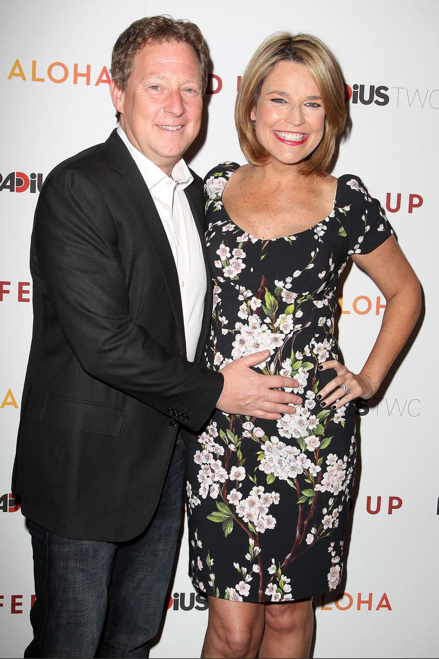 """** FILE ** This May 6, 2014, file photo released by Starpix shows Michael Feldman, left, and Savannah Guthrie at the premiere of """"Fed Up"""" at the Museum of Modern Art in New York. Guthrie gave birth to daughter Vale Guthrie Feldman on Wednesday, Aug. 13,  in New York. (AP Photo/Starpix, Amanda Schwab, File)"""