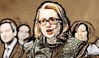 Hillary Testifies about Benghazi Illustration by Greg Groesch/The Washington Times