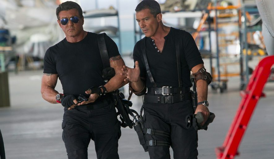 "Sylvester Stallone (left) and Antonio Banderas are among a dream team of 1980s and '90s action stars in ""The Expendables 3."" (Lionsgate via Associated Press)"
