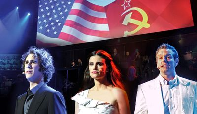 "Josh Groban (left), Idina Menzel and Adam Pascal are seen in the production ""Chess in Concert,"" to be shown on PBS' ""Great Performances."" (PBS via Associated Press)"