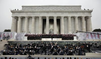 """Josh Groban performs with Heather Headley during President Obama's """"We Are One: The Obama Inaugural Celebration at the Lincoln Memorial."""""""