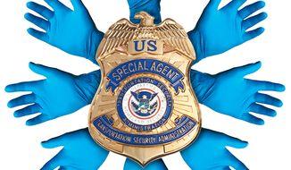 Illustration on TSA abuses by Alexander Hunter/The Washington Times
