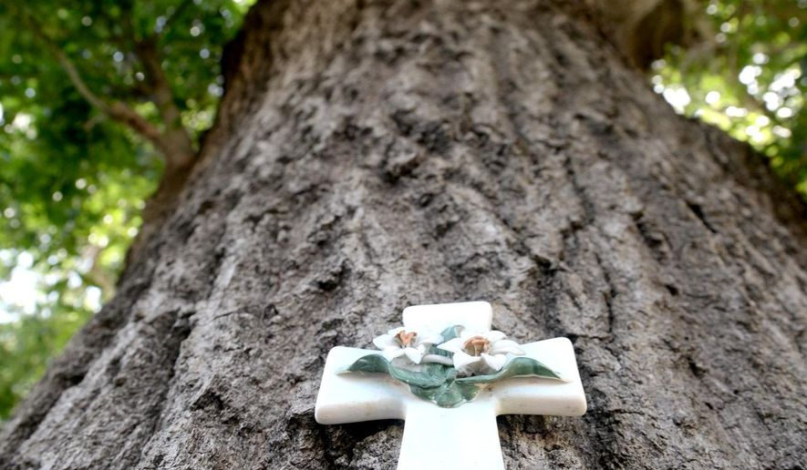 FOR USE IN WEEKEND EDITIONS AUG. 16-17 - In this July 12, 2014 photo, a cross hangs on the large Oak tree that serves the shade for the Shade Tree Fellowship in Longview, Texas. (AP Photo/The News-Journal, Kevin Green)