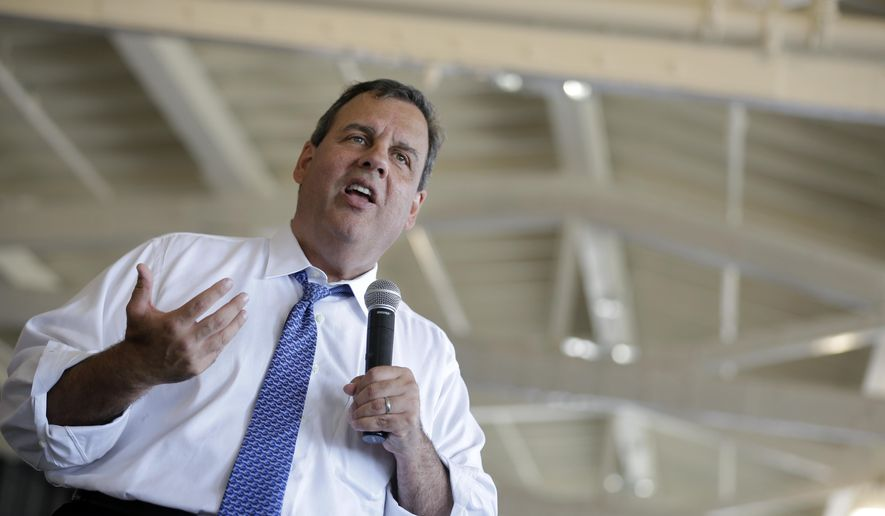 New Jersey Gov. Chris Christie addresses a gathering during a town hall meeting, Thursday, Aug. 14, 2014, in Ocean City, N.J. (AP Photo/Mel Evans)