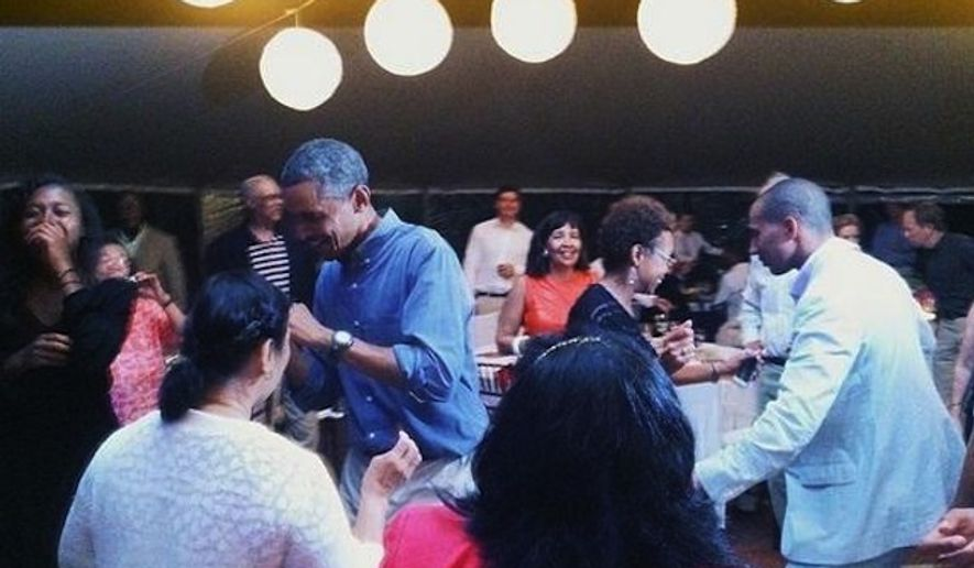 A Martha's Vineyard photographer quietly deleted photographs of President Obama dancing during a birthday celebration on the island for Ann Jordan. (Instagram/Elizabeth Cecil)