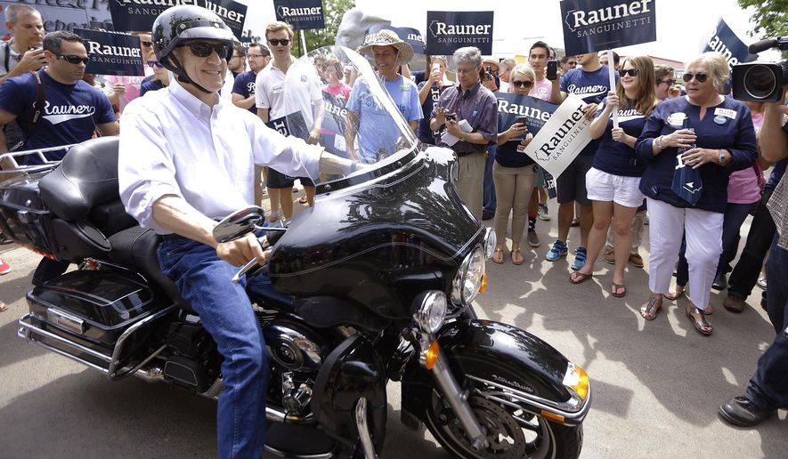 Illinois Republican gubernatorial candidate Bruce Rauner rides his Harley-Davidson motorcycle into the Illinois State Fairgrounds before participating in a Republican Day rally at the State Fair, Thursday, Aug. 14, 2014, in Springfield, Ill.  (AP Photo/Seth Perlman)