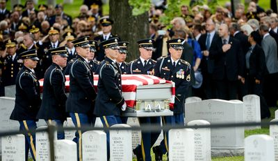 Members of The Old Guard carry the casket of U.S. Army Maj. Gen. Harold J. Greene into Section 60 for his funeral service at Arlington National Cemetery, Arlington, Va., Thursday, August 14, 2014. Greene was killed in Afghanistan while at the national military academy in Kabul. He was the highest-ranking U.S. Army officer killed in combat since the Vietnam War. (Andrew Harnik/The Washington Times)
