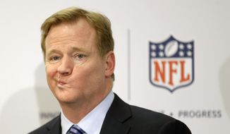 FILE - In this March 11, 2013, file photo, NFL Commissioner Roger Goodell takes questions during a news conference in New York. Marijuana is casting an ever-thickening haze across NFL locker rooms, and it's not simply because more players are using it. As attitudes toward the drug soften, and science slowly teases out marijuana's possible benefits for concussions and other injuries, the NFL is reaching a critical point in navigating its tenuous relationship with what is being recognized, more and more, as the analgesic of choice for many of its players. (AP Photo/Seth Wenig, File)