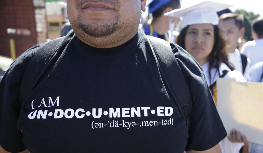 A member of the group Border Dreamers marches in support of a U.S. open border policy. (AP Photo/Lenny Ignelzi)