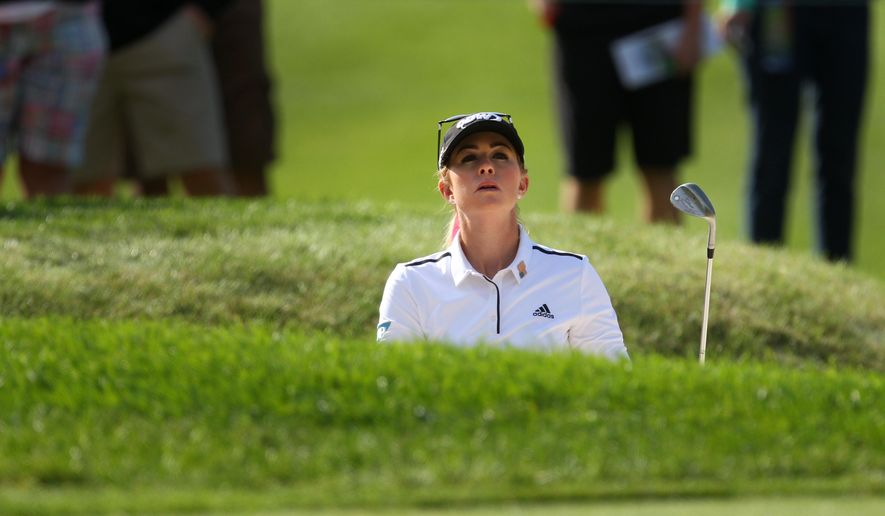 Paula Creamer watches her shot from the bunker on the third hole during the first round of the LPGA  Championship,Thursday, Aug. 14, 2014 at Monroe Golf Club in Pittsford, N.Y. (AP Photo/Democrat & Chronicle, Jamie Germano)  MAGS OUT; NO SALES
