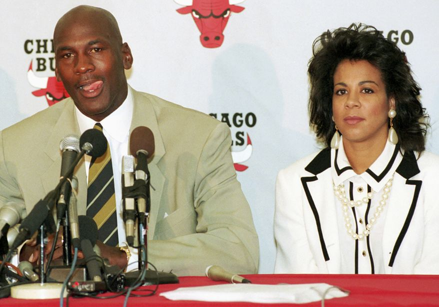 2. Basketball legend Michael Jordan and wife Juanita divorced after 17 years of marriage. Juanita received a reported $168 million in the settlement, along with custody of their three children. **FILE** Chicago Bulls' Michael Jordan with his wife, Juanita, looking on announces his retirement from professional basketball at the Berto Center in Deerfield, Ill., in this Oct. 6, 1993, file photo. On Friday, Dec. 29, 2006, the couple announced they had divorced after 17 years of marriage. (AP Photo/Mike Fisher,file)
