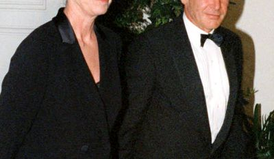 8. Actor Harrison Ford and wife Melissa Mathison decided to call it quits in 2004 after 21 years together. Mathison walked away with $85 million, plus future royalties on two Star Wars films and three Indiana Jones movies. FILE-Harrison Ford and his wife Melissa Mathison arrive at the White House for an official dinner for British Prime Minister hosted by President Clinton Thursday, Feb. 5, 1998 in Washington.  (AP Photo/Neshan H. Naltchayan)