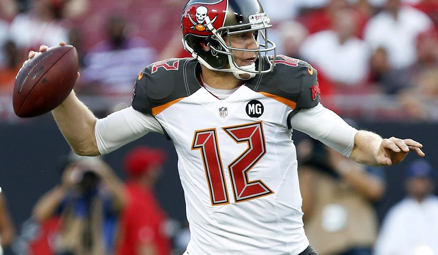 Tampa Bay Buccaneers quarterback Josh McCown throws a pass against the Miami Dolphins during the first quarter of an NFL preseason football game Saturday, Aug. 16, 2014, in Tampa, Fla. (AP Photo/Brian Blanco)