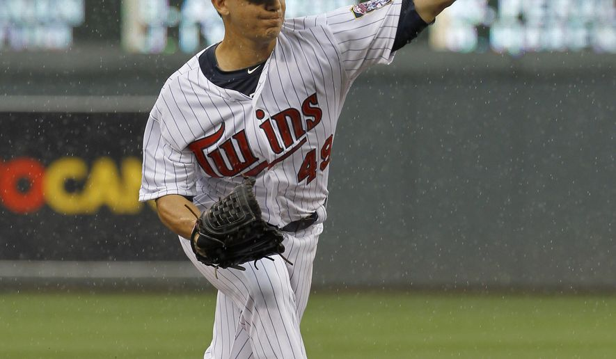 Minnesota Twins starting pitcher Tommy Milone delivers to the Kansas City Royals during the second inning of a baseball game in Minneapolis, Sunday, Aug. 17, 2014. (AP Photo/Ann Heisenfelt)