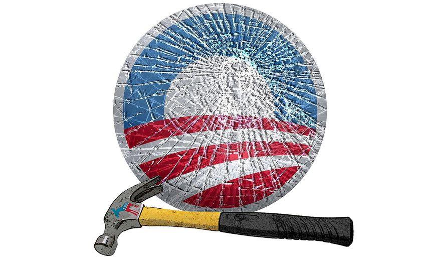 Obama Logo Broken Glass Illustration by Greg Groesch/The Washington Times