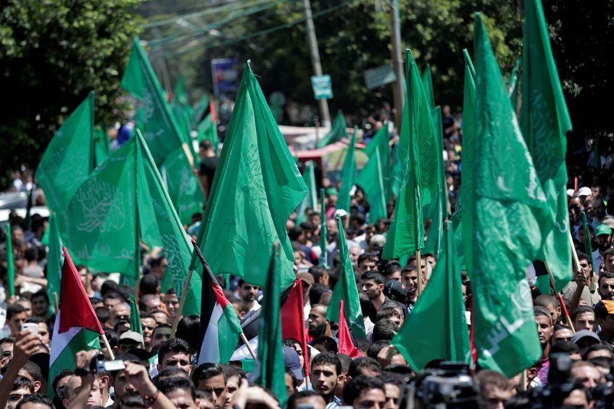 Hamas supporters gather for a rally in Gaza City, Gaza Strip. Evidence has pointed to Iran continuing to funnel weapons to the Palestinian side of the conflict with Israel. (Associated Press)
