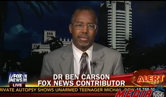 Dr. Ben Carson said on Fox News Monday that a previous offer to publicly debate the Rev. Al Sharpton on quelling violence still stands. (Mediaite/Fox News)