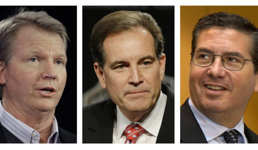 """FILE - These are file photos showing, from left, Phil Simms, Jim Nantz, and Washington Redskins NFL football team owner Daniel Snyder. CBS lead analyst Phil Simms is considering referring to the Redskins only as """"Washington"""" when he broadcasts the team's game against the Giants next month. Simms isn't taking sides in the debate over whether Washington's nickname is offensive or racist. But he adds he is sensitive to the complaints about the name, and his instincts now are to not use """"Redskins"""" in his announcing. His broadcast partner, Jim Nantz, says it is not his job """"to take a stance."""" CBS is allowing its announcers to decide on their own whether to call the team the Redskins. (AP Photo/File)"""