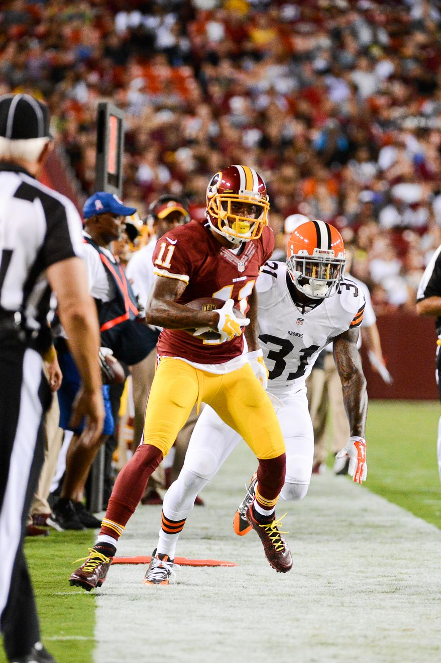 Washington Redskins wide receiver DeSean Jackson (11)  runs out of bounds after a positive gain the first quarter as the Washington Redskins play the Cleveland Browns in NFL preseason football at FedExField, Landover, Md., Monday, August 18, 2014. (Andrew Harnik/The Washington Times)
