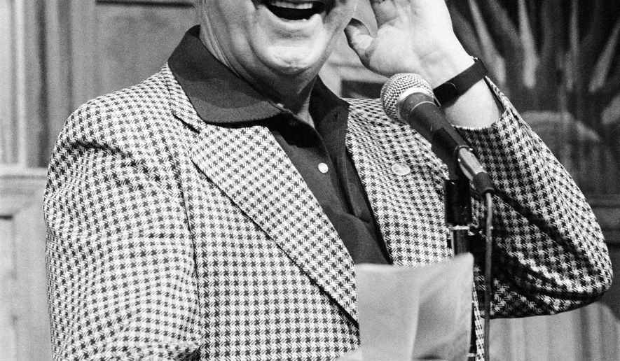 This Sept. 25, 1982 photo provided by NBC shows announcer Don Pardo. Pardo, the durable television and radio announcer whose resonant voice-over style was widely imitated and became the standard in the field, died Monday, Aug. 18, 2014 in Arizona at the age of 96. (AP Photo/NBC, Al Levine)