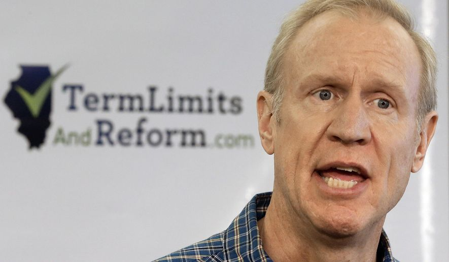 Illinois Republican gubernatorial candidate Bruce Rauner speaks with reporters during a term limits news conference Tuesday, Aug. 19, 2014, in Springfield, Ill. The clock is ticking for the possibility of Illinois voters getting to vote on term limits this year. An appeals court is due to rule on the measure's validity, and the issue is then expected to go to the state Supreme Court for a final decision before the ballot is certified next week. (AP Photo/Seth Perlman)
