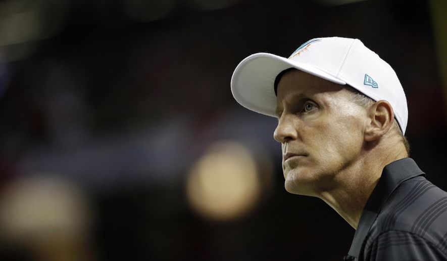 FILE - In this Aug. 8, 2014, file photo, Miami Dolphins head coach Joe Philbin watches play against the Atlanta Falcons during the first half of an NFL preseason football game in Atlanta. Philbin has actually been caught enjoying himself more than a few times during training camp. After a scandal-filled 2013 season, that alone is a significant development for the Dolphins, who may be taking cues from their coach about taking pleasure from the game. (AP Photo/David Goldman, File)