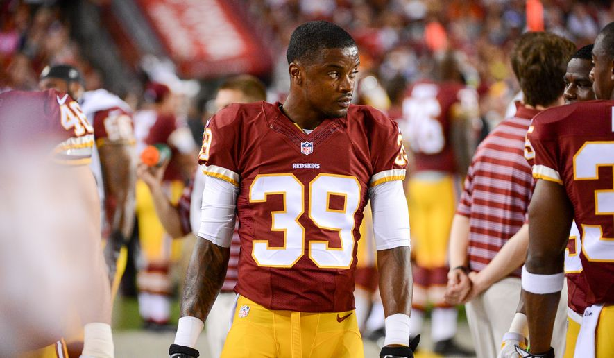 Washington Redskins free safety David Amerson (39) walks the sideline as the Washington Redskins play the Cleveland Browns in NFL preseason football at FedExField, Landover, Md., Monday, August 18, 2014. (Andrew Harnik/The Washington Times)