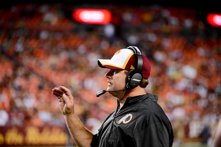 Washington Redskins head coach Jay Gruden on the sideline as the Washington Redskins play the Cleveland Browns in NFL preseason football at FedExField, Landover, Md., Monday, August 18, 2014. (Andrew Harnik/The Washington Times)