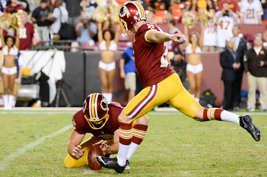 Washington Redskins kicker Kai Forbath (2) kicks a field goal as the Washington Redskins play the Cleveland Browns in NFL preseason football at FedExField, Landover, Md., Monday, August 18, 2014. (Andrew Harnik/The Washington Times)
