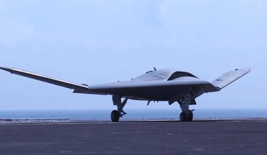 The Navy's unmanned X-47B lands aboard USS Theodore Roosevelt (CVN 71) Aug. 17. (U.S. Navy)