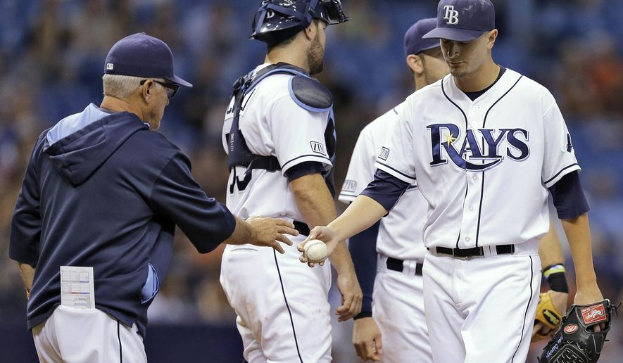 Tampa Bay Rays starting pitcher Jake Odorizzi, right, hands the ball to manager Joe Maddon after being taken out of the game against the Detroit Tigers during the seventh inning of a baseball game Wednesday, Aug. 20, 2014, in St. Petersburg, Fla. (AP Photo/Chris O'Meara)