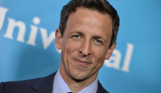 Seth Meyers appears at the NBC 2014 Summer TCA held at the Beverly Hotel in Beverly Hills, California, July 13, 2014. (Photo by Richard Shotwell/Invision/AP) ** FILE **