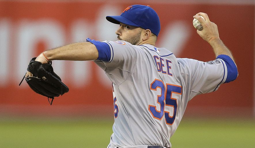 New York Mets' Dillon Gee pitches against the Oakland Athletics in the first inning of a baseball game Tuesday, Aug. 19, 2014, in Oakland, Calif. (AP Photo/Ben Margot)