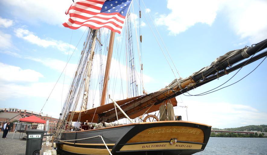 "In September, an array of tall ships and Navy gray hulls will be on display to celebrate the bicentennial of ""The Star Spangled Banner."" If you're anxious, though, the Pride of Baltimore II, a reproduction privateer from the War of 1812 era, is visiting the Washington Navy Yard next to the destroyer USS Barry. The Pride display is open until Aug. 25. (Andrew Harnik/The Washington Times)"