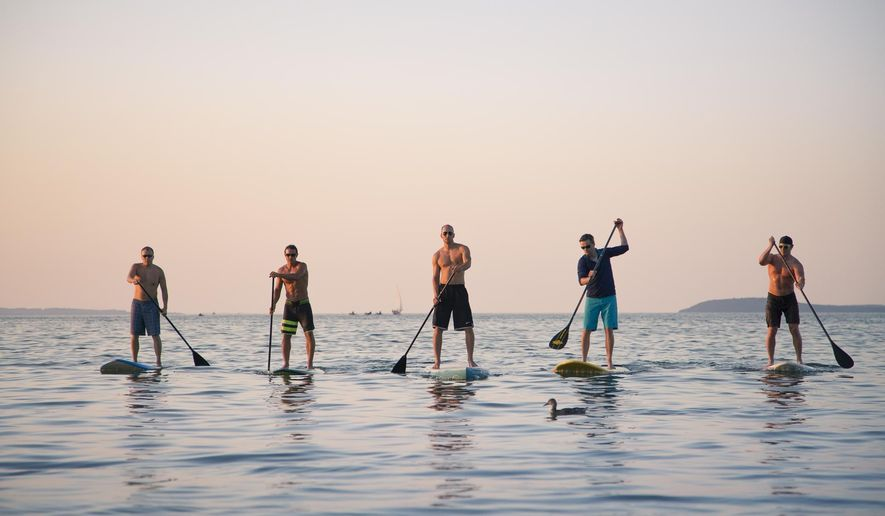 In a photo provided by John A. Gessner, stand-up paddle boarders from left, Jeff Guy, Kwin Morris, Joel Mueller, Andrew Pritchard, and Joe Lorenz all of Traverse City, Mich. are seen on a West Grand Traverse Bay beach. The five friends who all have a passion for watersports and the preservation of the Great Lakes plan to paddle across Lake Michigan to raise money for the Alliance for the Great Lakes. The 60 mile journey, referred to as Stand Up for Great Lakes, begins at Algoma, Wisconsin, and ends at Frankfort, Michigan, according to the Petoskey News-Review. (AP Photo/John A. Gessner Photography)