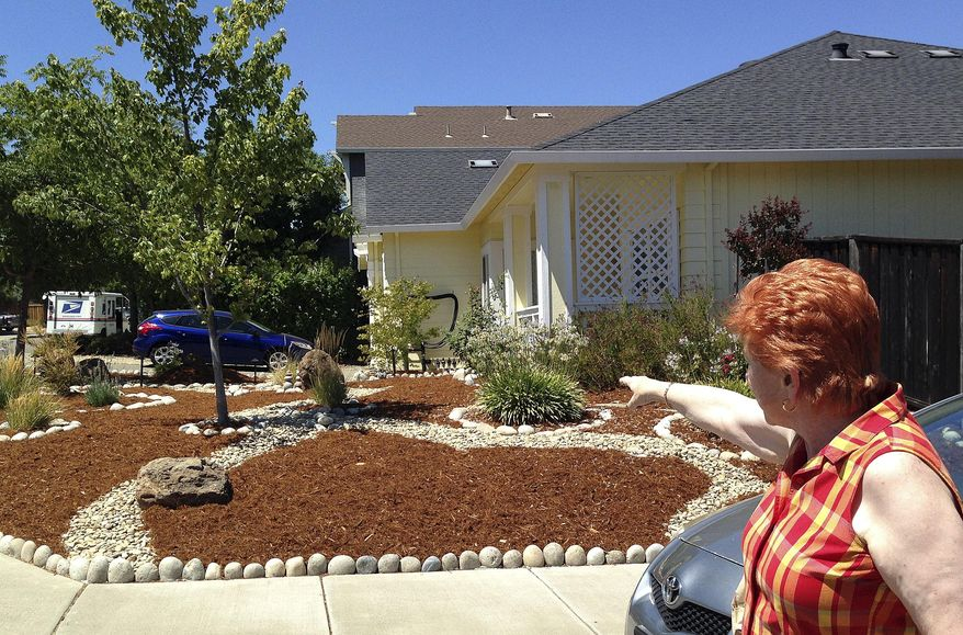 The Aug. 1, 2014 photo shows Mayor Carol Russell showing homes of residents who have plowed up their lawns because of local mandatory water rationing in Cloverdale, Calif. California's drought has the state Legislature considering state regulation of groundwater use for the first time. (AP Photo/Ellen Knickmeyer)