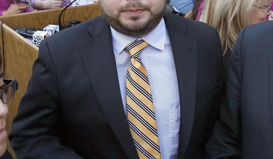 Former Arizona state Rep. Ruben Gallego, D-Phoenix, exits the podium after speaking at a news conference after Gov. Jan Brewer vetoed SB1062, a bill designed to give added protection from lawsuits to people who assert their religious beliefs in refusing service to gays, at the Arizona Capitol on Wednesday, Feb. 26, 2014, in Phoenix.  Gallego is running against Maricopa County Board of Supervisors member Mary Rose Wilcox and others in the Democratic primary on Aug. 26 for the open 7th Congressional District seat vacated by the retirement of longtime Democratic Rep. Ed Pastor. (AP Photo/Ross D. Franklin)