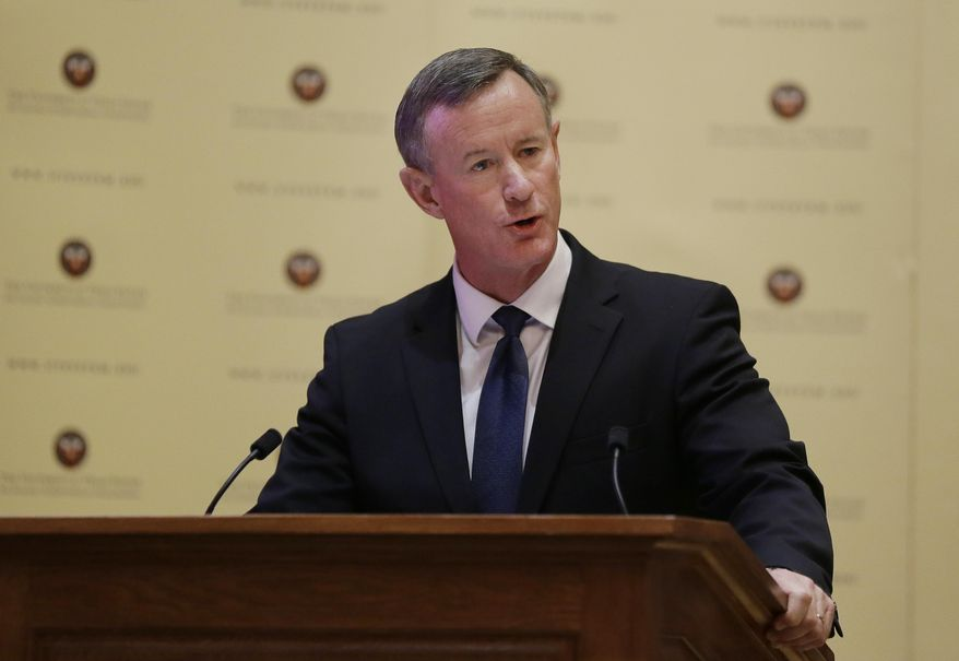 Then-Navy Adm. William McRaven addresses the Texas Board of Regents, Thursday, Aug. 21, 2014, in Austin, Texas. (AP Photo/Eric Gay) ** FILE **