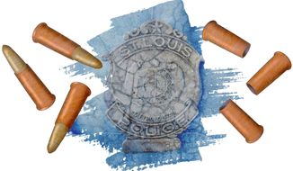 Ferguson Bullet Count Illustration by Greg Groesch/The Washington Times