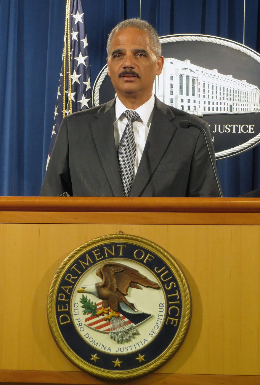 Attorney General Eric H. Holder Jr. announces a $16.65 billion settlement with Bank of America over the sale of toxic mortgage-backed securities. (Associated Press)