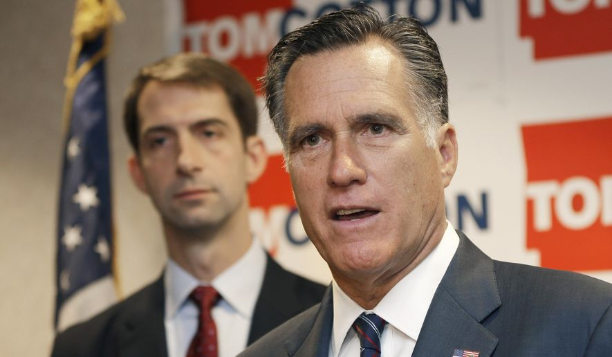 Former Republican Presidential candidate Mitt Romney, right, speaks at a  North Little Rock, Ark., news conference Thursday, Aug. 21, 2014, as he endorses U.S. Rep. Tom Cotton, R-Ark., left, in the race for U.S. Senate. (AP Photo/Danny Johnston) **FILE**