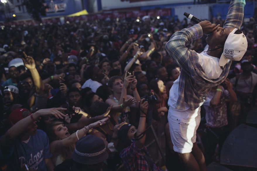 A$AP Rocky performs in front of a crowd of thousands at the Trillectro Music Festival, which was held at the Half Street Fairgrounds in Southeast D.C.