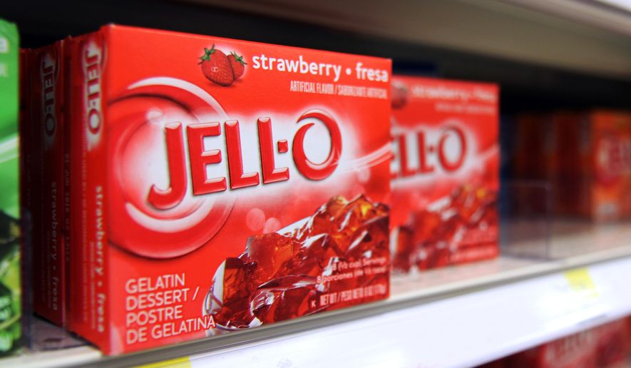This Tuesday, Aug. 19, 2014 photo shows boxes of Jell-O on a shelf at a store in Vauxhall, N.J. Despite its enduring place in pop culture, sales of Jell-O have tumbled 19 percent from five years ago, with alternatives such as Greek yogurt surging in poularity. (AP Photo/Dan Goodman)