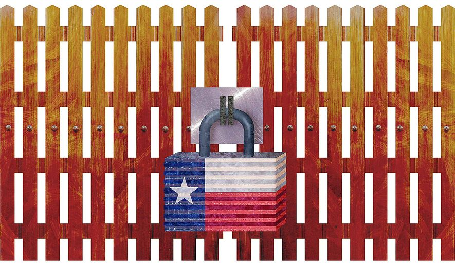 Secure Texas Borders Illustration by Greg Groesch/The Washington Times